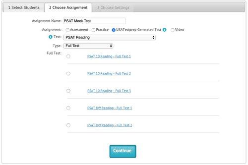 USATestprep PSAT Sample Data Screen